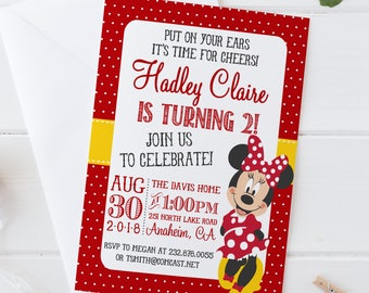 DIY Minnie Mouse Invitation 1st Birthday Printable Pa