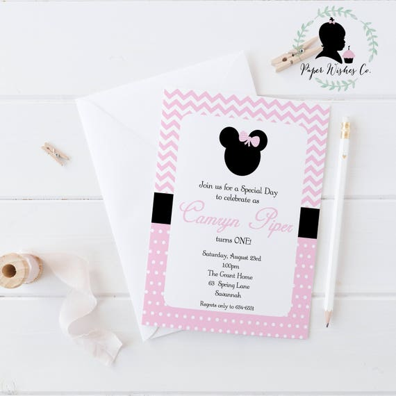 DIY Minnie Mouse Invitation 1st Birthday