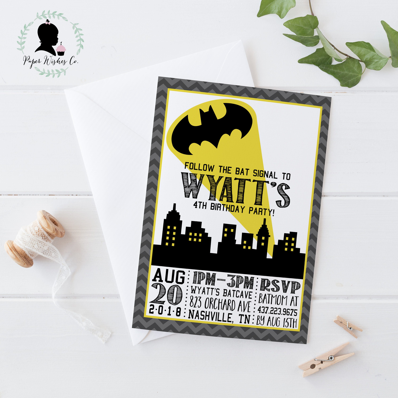 DIY Batman Birthday Invitation Batman Birthday Party Batman | Etsy