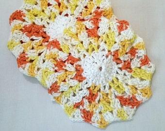 Round Dishcloths, Crochet Dishcloths, Round Dish Cloths, Round Dish Rags, Yellow Dishcloths
