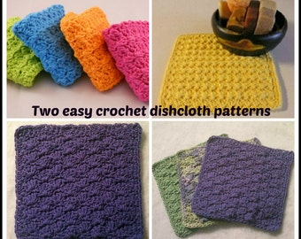 Two easy crochet dishcloth patterns