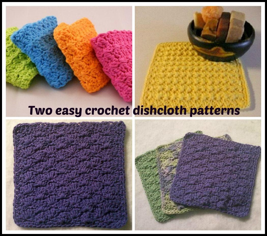 Two Easy Crochet Dishcloth Patterns Etsy
