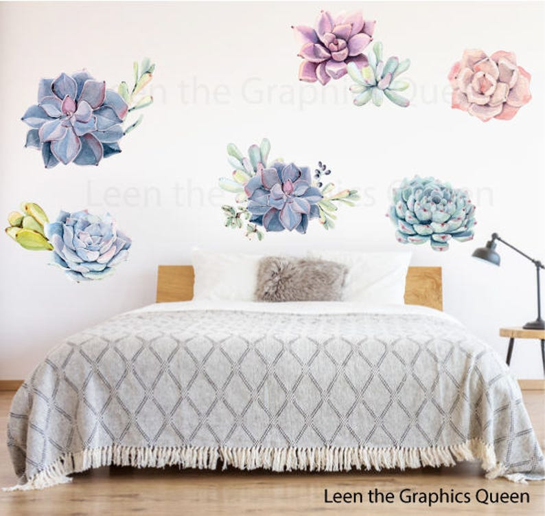 Succulent Wall Decals Nursery Wall Decor Bedroom Decoration Etsy