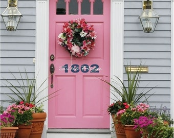 Door Decal - Front Door Vinyl Lettering with House Number • Curb Appeal Wall Decal • Front Door Decal • Customize Wall Decal