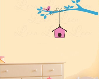 Tree Branch with Bird House Wall Decal - Kids Bedroom Nursery Play Room Decor - Branch Nursery Vinyl Wall Decal Wall Sticker