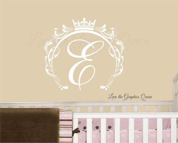 Monogramm Wand Aufkleber Prinzessin Krone Wand Aufkleber