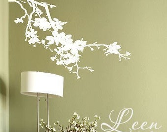 Lovely Floral Tree Branch Vinyl Wall Decal • Flowering Tree Branch Wall Decal for your Room • Custom Wall Decal