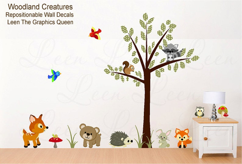 animal tree wall decals woodland creatures reusable wall | etsy
