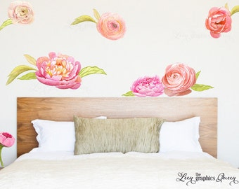 Peony Wallpaper - Watercolor Flower Wall Decals - Baby Girl Nursery Girl Room Wall Art - Eco friendly -Baby Shower Gift - Wall Decals