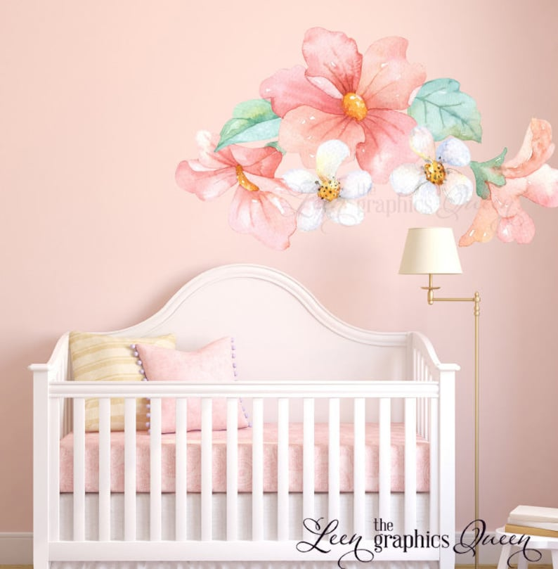 bb1c2f7d95 Pink Peach Coral Watercolor Floral Wall Decals Nursery Girl | Etsy
