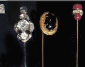 Stickpins Hatpins - Four Vintage Pieces - Nice Variety of Antique Stickpins or Hatpins