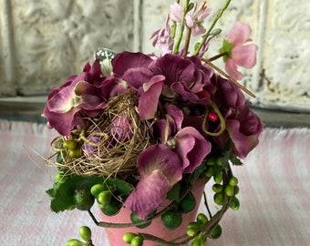 Floral Arrangement Flowers Nest Eggs Hydrangea Plum Moss Pink Cherry Blossoms Small Arrangement