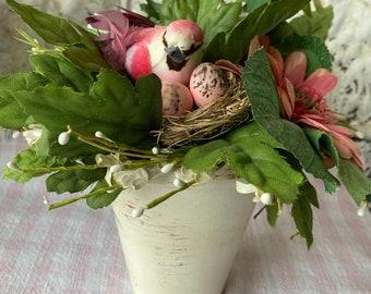 Floral Arrangement Flower Arrangement Terra Cotta Vase Ranunculus Daisy Gerbera Daisies Berries Bird Nest Eggs
