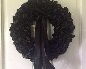 """Mourning Wreath 24"""" Wreath Black Ribbon Large Funeral Memorial Service"""