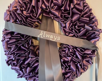 Wreath Half Mourning Wreath Lavender & Gray Ribbon Half Mourning 18 inch Sympathy In Remembrance In Memorium Love Always