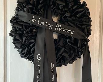 Wreath Mourning Wreath Black Ribbon 20 inch Wreath In Memoriam With Love Always