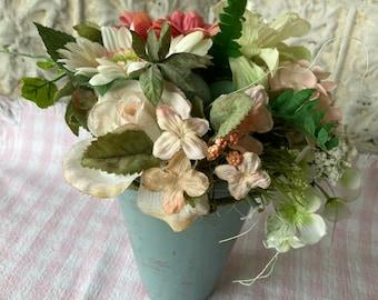Floral Arrangement Flowers Gerbera Daisies Zinnia Rose Eggs Hydrangea Spring Everlasting Design Pale Coral Blue