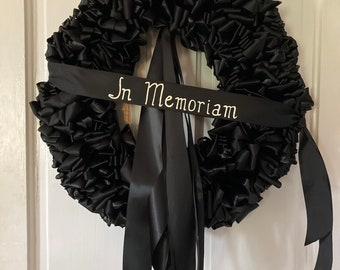 Memorial Wreath Mourning Wreath Black Ribbon 18 inch Sympathy In Remembrance In Memoriam Love Always