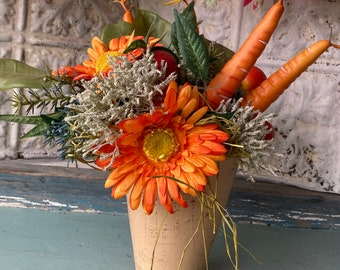 Floral Arrangement Flowers Gerbera Daisies Carrots Tomatoes Sea Holly Everlasting Design Vibrant Summer