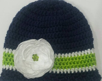 74e1a49d183 Crochet hats -navy -green -white Hat - Fabric Flower - Seahawks hats - Seahawks accessories -football hats -Baby hat-Toddler Hats