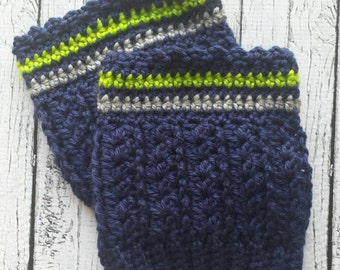 Go Seahawks! Navy-Grey-Green Boot Warmers-Leggings-Boot Toppers-Womens Boot Warmers-Womens Boot Toppers-Womens Leggings