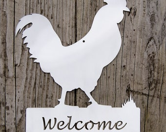 Rooster Farm Sign - Welcome