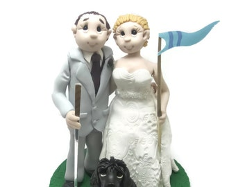 Custom wedding cake topper, Golf themed cake topper, Bride and groom cake topper, Mr and Mrs cake topper, personalized cake topper