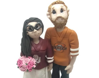 Custom wedding cake topper, personalized cake topper, Bride and groom cake topper, Mr and Mrs cake topper, Sports fans wedding
