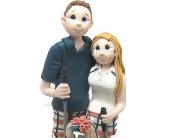 Custom cake topper, Golfer's wedding cake topper, Bride and Groom cake topper, Mr and Mrs cake topper, personalized cake topper
