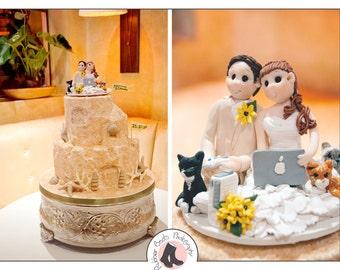 Bride and Groom destination Wedding Cake topper