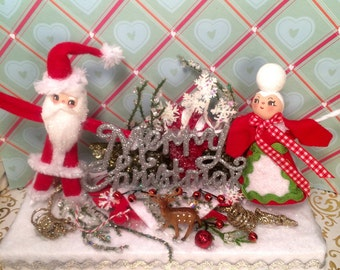 Santa Claus centerpiece mr and mrs claus christmas decor vintage retro inspired art doll