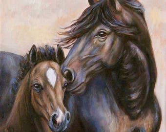 Original Mare and Foal Painting--Reserved for Cynthia--Fine Art Horse Oil Painting- 'Eternal Love'