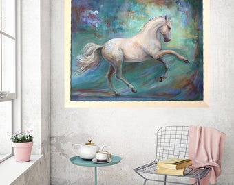 Original White Horse painting in oil on canvas of 'Harmony'