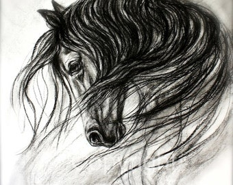 Horse Art Print on paper or canvas of Horse Drawing- 'Mane Dance'