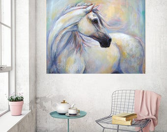 White Horse Painting on canvas of 'Heavenly Horse'