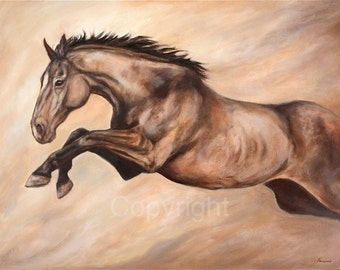 "Jumping Horse Fine Art-Giclee print-on canvas-""Jump"""