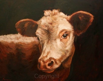 Cow gazing Cow Art Print-On Canvas-Cow painting