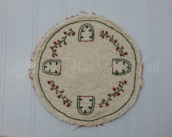 Watermelon Candle Mat - Hand Embroidery - Summer Treat - Summer Home Decor
