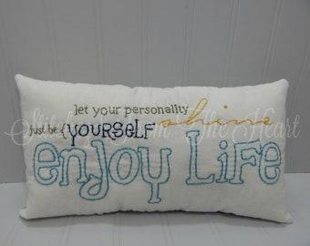 Enjoy Life Throw Pillow - Farmhouse Decor - Inspirational
