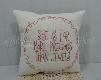 She Is Far More Precious Than Jewels - Baby Girl Pillow - Nursery Quote - Nursery Decor - Decorative Throw Pillow - Baby Girl