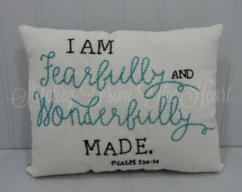 I am Fearfully and Wonderfully Made - Decorative Pillow - Throw Pillow - Nursery Decor - Baby Gift