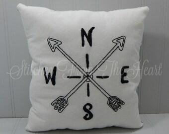 Arrow Compass Decorative Pillow - Rustic Home Decor - Farmhouse Decor - Adventure Decor