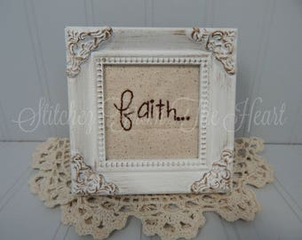 Christian Decor - Faith - Faith Stitchery - Christian Gift - Christian Framed Art - Religious - Farmhouse Decor