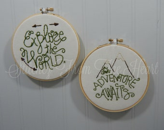 Explore The World And A Grand Adventure Awaits Hoop Stitchery - Rustic Home Decor
