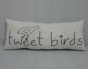 Tweet Birds Spring Pillow - Bird Lovers - Spring Decorative Pillow - Spring Birds - Song Birds