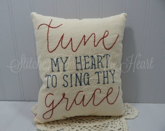 Tune My Heart To Sing Thy Grace Decorative Pillow - Christian Home Decor - Christian Hymn