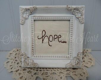 Christian Decor - Hope - Hope Stitchery - Christian Gift - Christian Framed Art - Religious - Farmhouse Decor