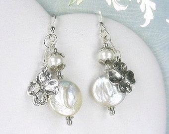 White Coin Pearl Earrings (Dogwood Blossom)  by Gonet Jewelry Design