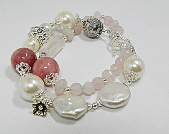 Coin Pearl and Rose Quartz Bracelet ( Siesta Key Beach)