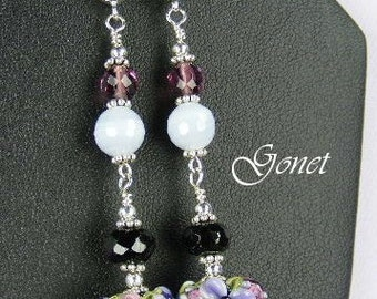 Black Onyx and Blue Lace Agate Earrings (Romantic)  by Gonet Jewelry Design
